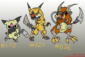 Mutants 172, 025, and 026 by BrokenTeapot