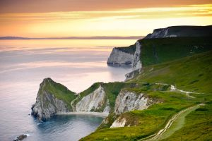 Sunset at Lulworth Cove by horry