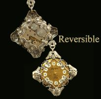 Victorian Steampunk Necklace Reversible by byrdldy
