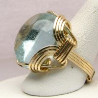 14 kt Gold Aqua Wire Wrapped Ring by JandSGems