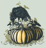 Crow on Pumpkin by Daver2002ua