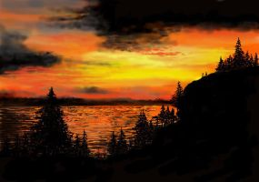 Sunset on Frenchman's Bay by davincipoppalag