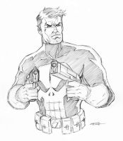 Punisher pencil doodle by 93Cobra
