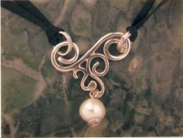 Scroll and Pearl Drop Necklace by ZoeyElen