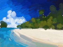 Beach Painting Color test by RozlynnWaltz