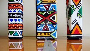 Africa Print Inspired Hand Painted Bottles. by HandmadEverything