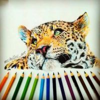 Leopard Drawing (Coloured Pencils) by MichelleCArt