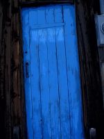 Blue door at my bus stop by JASPERSISAWESOME