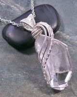 Quartz Crystal and Silver Wire-Wrapped Pendant by HeatherJordanJewelry