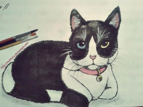 Cat made with watercolors by TsukiLucy