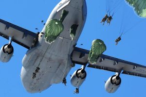 C-17 Globemaster III deploying Parachute Troopers by White0222
