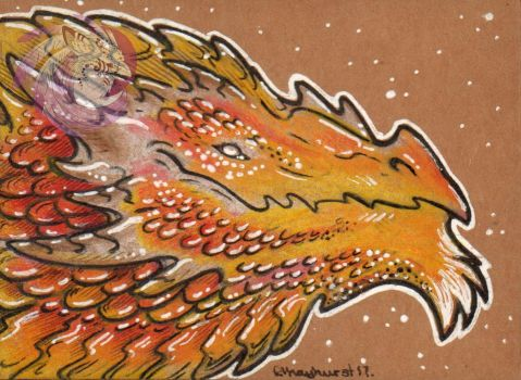 Bearded Amberwyrm ACEO by Idlewings