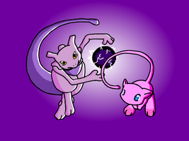 Mew and Mewtwo by Jiayi