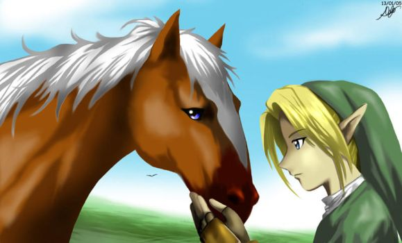 Link and Epona by deizelyn