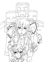 Minecraft Girl Lineart by 16fable