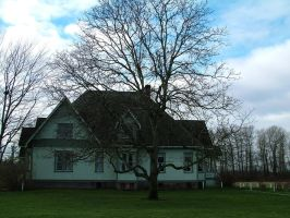 Ol house 2 w tree by JensStockCollection