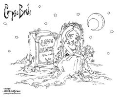 Emily the Corpse Bride - Lineart by JadeDragonne