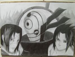 The Uchiha brothers and Tobi by hnorby94