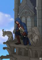 Assassin's Creed Unity : Arno Watching from Above by LexiGold
