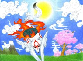 Okami: Amaterasu's arrival by Mistress-of-Dragons