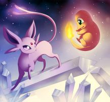 Charmander vs Espeon by Jack-a-Lynn