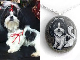 Custom  Shih Tzu Pendant Necklace by sobeyondthis