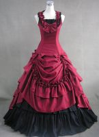 New Red and Black Cotton Victorian Dress by lindayang1122