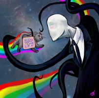 Nyan Cat vs. Slenderman by fait-Hunter