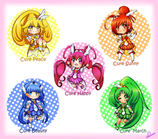 Smile Precure Chibi Set by PrinceShiroko