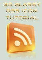 3D Glassy RSS icon - Tutorial by Seiorai