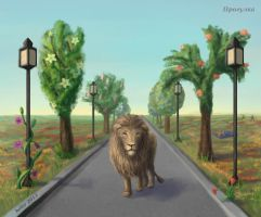 Lion at walk by helur