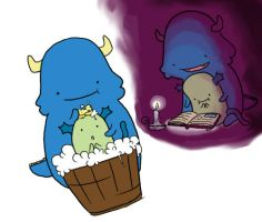 Monster Blue babysits by Marzipanapple