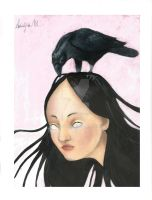 Girl with Raven by adal30