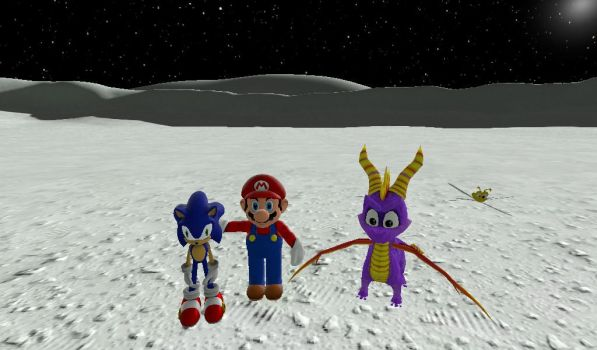 Mario and Sonic and Spyro on the Moon by hmcvirgo92