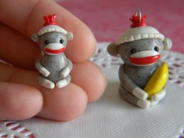 Sock Monkey Charm+Miniature  Sock Monkey by ThePetiteShop