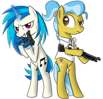 Commission: Armed Vinyl Scratch and Doctor Flummox by Pustulioooooo