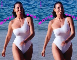 Raquel Welch White Swimsuit 3d cropped by 3dpinup