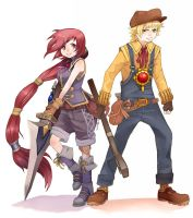 Dark Cloud 2: Maximillian + Monica by e-hima