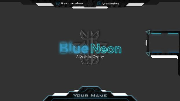 Blue Neon Twitch Overlay by Desinika