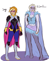 Disney Superheroes: Anna and Elsa by CHAOTIKproductions