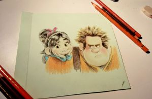 Rompe Ralph and Vanellope by NirmtwarK-s