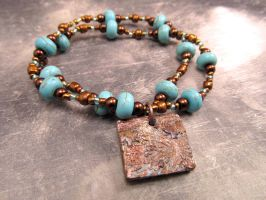 Turquoise and Copper Faux Patina Charm Bracelet by FantasyAlley