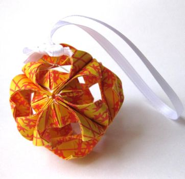 Yellow Bamboo Origami Ornament by pandacub143