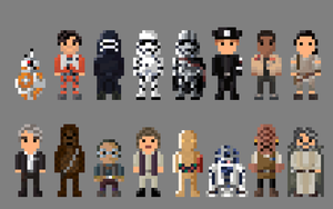 Star Wars The Force Awakens Characters 8 bit by LustriousCharming