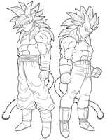 Goku SSJ4 Vegeta SSJ4 preview by drozdoo
