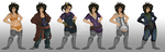 Rhea's outfit lineup by DarthJazz