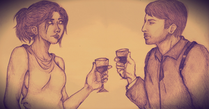 Sharing a glass of wine by Roelka