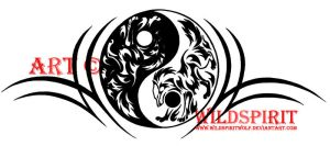 Yin Yang Tribal Wolf Tattoo by WildSpiritWolf