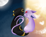 Umbreon & Espeon by FrostieChu