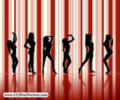 Sexy Girl Silhouettes Vector by 123freevectors